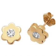 9ct Gold Cubic Zirconia flower Stud Earrings